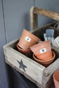 caja madera estrella y macetas