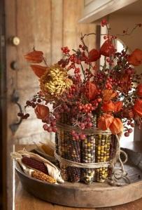 centro flores con maiz