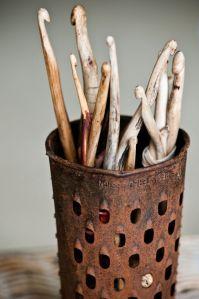 palos ganchillo y tricot de madera