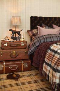 cama con colchas tartan